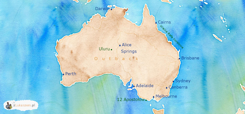Australia mapa atrakcji i miast