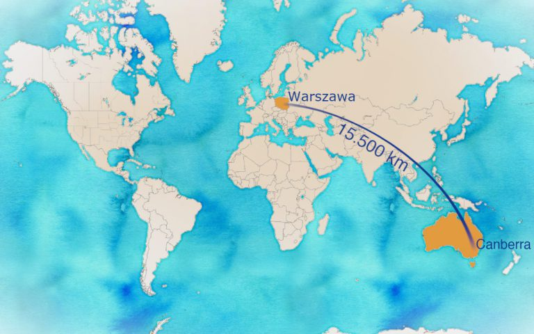Mapa - odległość do Australii