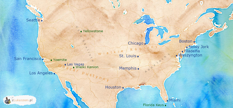 USA - mapa atrakcji i miast - przewodnik internetowy po USA