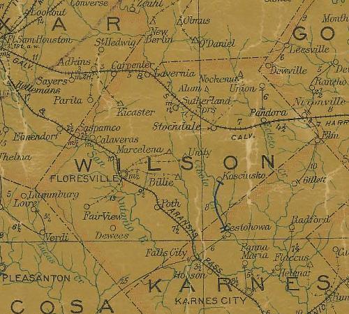 Fragemnt mapy z 1907 r. - widoczne miejscowości: Panna Maria, Cesthowa, Kosciusko, polskie osady w Teksasie