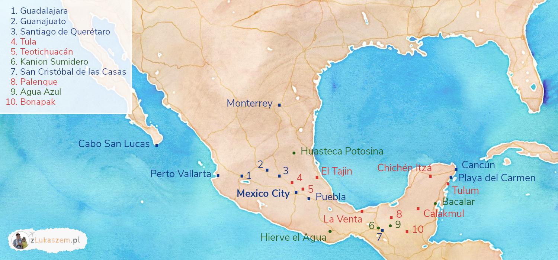 Meksyk mapa atrakcji i miast