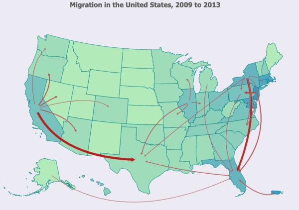 Migracje wewnętrzne w USA - mapa pokazuje gdzie mieszkać