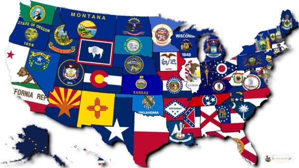 mapa USA - stany i flagi - ceiekawostki
