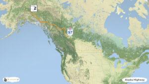 Alaska Highway w USA i Kanadzie - trasa wycieczki, mapa