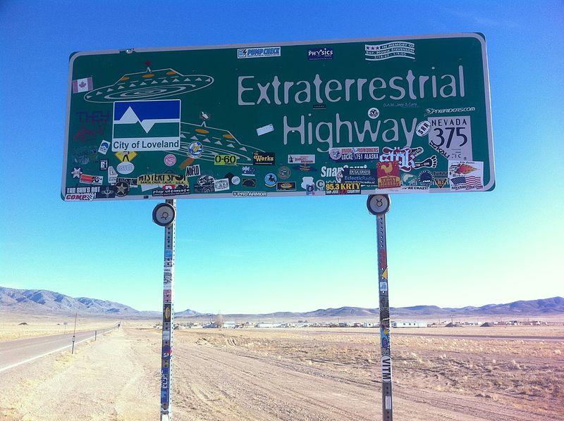 Extraterrestrial Highway znak - podróż przez USA