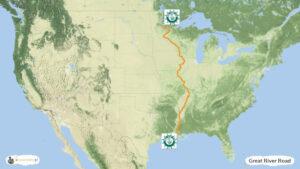 Great River Road - trasa podróży po USA, mapa