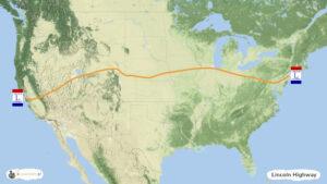 Lincoln Highway - trasa podróży po USA, mapa