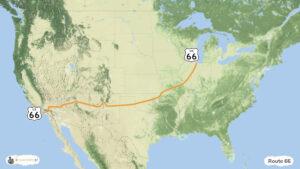 Droga 66 - trasa podróży po USA, mapa