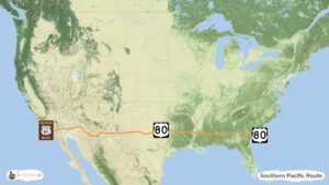 Southern Pacific Route - trasa zwiedzania USA, mapa