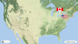 Szlak 14 stolic - trasa podróży przez USA i Kanadę, mapa