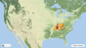 Szlak amerykańskiej whiskey - trasa podróży po USA, mapa