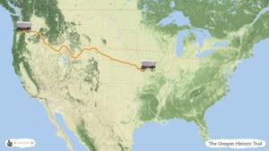 Oregon Historic Trail - trasa zwiedzania USA, mapa
